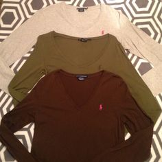Polo Bundle- long sleeve Polo bundle deal, long sleeve, all size L, all v-neck Polo by Ralph Lauren Tops Tees - Long Sleeve