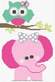 Crochet Patterns - OWL and ELEPHANT Graph/Chart BABY Afghan Pattern #karenscradlecreations