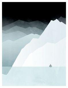 Minimal Poster, Modern Landscape Art, Nautical Decor, Iceberg, Ocean, Seascape, Sailboat, Ice. $18.00, via Etsy.