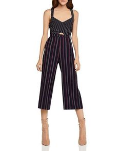 0fc80cd6dfd8 BCBGeneration Mixed-Stripe Cropped Jumpsuit  fashion  clothing  shoes   accessories  womensclothing