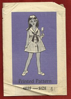 #Vintage #Sewing #Pattern 1972 Anne Adams 4899 Little #Girl's #Sailor #Dress with Front Buttons Size 4