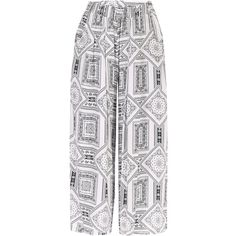 Yoins White Vintage Print Stretch Waistband Wide Leg Trousers ($25) ❤ liked on Polyvore featuring pants, white, patterned trousers, vintage trousers, white pants, patterned pants and white elastic waist pants