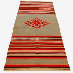 Vintage Saltillo Serape Mexican Blanket 1920s
