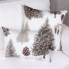 BEAUMIER cushion is made of French printed linen. Beautiful design of firs and pines in tones of brown and beige on a natural off white ground. Price is for one cushion. Printed Linen, Throw Pillows, Beige, Prints, Beautiful, Home, Toss Pillows, Decorative Pillows, Printed