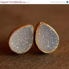 Gold Druzy Studs  Teardrop Post Earrings  by OhKuol