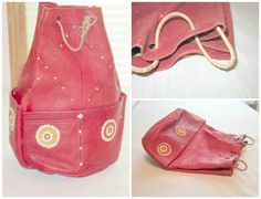Vintage Red leather round bag/pouch offered by treasuresRtimeless, $16.99