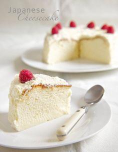 Japanese Cheesecake - Ingredients that yield a LIGHTER cake:160g full-fat cream cheese,25g unsalted butter,100ml full-fat milk,1 tsp vanilla paste, 40g plain flour,20g corn flour,4 egg yolks,4 egg whites,  1/8 teaspoon cream of tartar,pinch of salt,100g caster sugar. For Ingredients that yield a CREAMIER, egg-ier cake:READ MORE...  http://thepleasuremonger.wordpress.com/2011/03/29/japanese-cheesecake-with-rose-whipped-cream/
