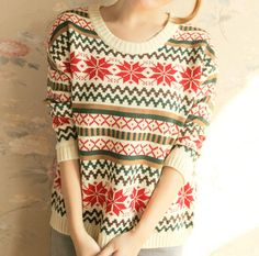 $26.00 | Long-sleeved round collar knitting sweater AE1204D