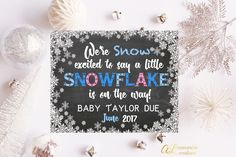 Winter Pregnancy Announcement Photo Prop Snow Excited Little Snowflake On The Way New Baby Sign Expecting New Baby Pregnancy Reveal by ALMemorableCreations on Etsy Baby Winter, Winter Pregnancy, Baby Pregnancy, Boy Nursery Colors, Family Photos With Baby, Pregnancy Announcement Photos, Little Snowflake, Baby Girl Blankets, Expecting Baby