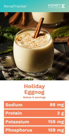 """Make your holidays jolly with this low phosphorus eggnog recipe. A quick alternative to traditional """"nog"""" that is perfect for making a glass or two at a time. Low Potassium Recipes, Low Sodium Recipes, Fodmap Recipes, Diet Smoothie Recipes, Smoothie Diet, Diet Recipes, Dialysis Diet, Renal Diet, Heart Healthy Recipes"""
