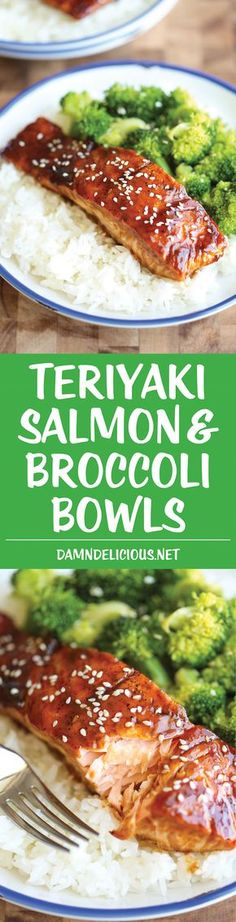 Teriyaki Salmon and Broccoli Bowls | There's no need for takeout anymore... you can easily make homemade #salmon teriyaki bowls in minutes!