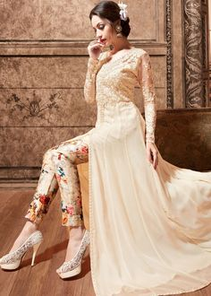 Cream Net and Silk Front Slit Anarkali Kameez With Pant