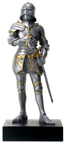 A Gothic knight stands at attention in full armor with sword in this statue miniature. With hand painted gold accents, it makes a great display piece for enthusiasts of medieval imagery. Made of cold