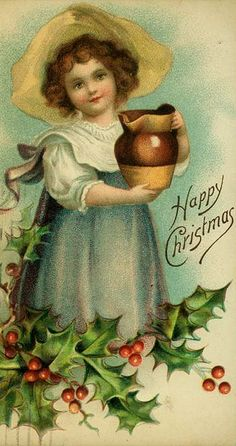 Christmas Little Girl Pitcher Holly Berries Embossed Postcard Christmas Fonts, Christmas Graphics, Old Christmas, Old Fashioned Christmas, Victorian Christmas, Christmas Postcards, Christmas Greetings, Vintage Christmas Images, Vintage Holiday