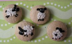 4 Hand Embroidered Sheep Buttons
