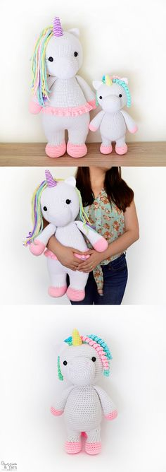 Two Crochet Patterns - Betsy the Big Unicorn and Mimi the Friendly Unicorn - Amigurumi - Crochet Bundle