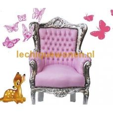 Barok kindertroon  Little Princess  zilver romantisch roze