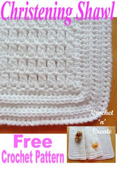 Christening Shawl - A beautiful shawl for babies special day, made on a large hook, so it is soft and cuddly, it can also be passed on through your family or used as an heirloom. Crochet Baby Shawl, Crochet Baby Blanket Beginner, Crochet Baby Blanket Free Pattern, Crochet Bebe, Baby Knitting, Crochet Baby Blankets, Baby Afghans, Irish Crochet, Crochet Gratis