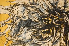 Fall Dahlia V Original Drawing Signed by Helen Gotlib. $5,750.00, via Etsy.