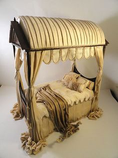 Canopy Bed in Beige Silk by June Clinkscales Signed 1:12 scale gorgeous details