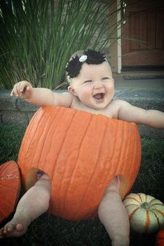 Adorable! Baby in pumpkin