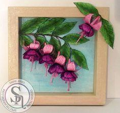Marie Jones - Sheena Perfect Partners - Fanciful Fuschia  Stamp & Die sets, Copy paper, Spectrum Noir Sparkle Pens: Amethyst, Inspired Violet, Pink Garnet, Cosmos, Holly Leaf, Olive Jade, Smoked Quartz, Crystal Clear, Moonstone - Collall Tacky & 3D glue - Wooden Frame - Cream paint #crafterscompanion #spectrumnoir