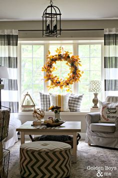 Sources for striped drapes in Fall Living Room-www.goldenboysandme.com