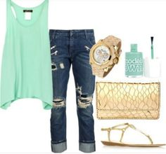 My fav♡ #mint#ripped#sandals#nailpolish#tank#top#gorgeous