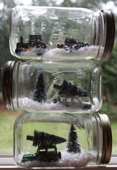Winter scenes in mason jars! Let Myles pick out a few cars and/or plastic animals to use and grab some model trees and fake snow from the craft store. Cars/animals can be taken out when we take down winter decor.