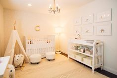 All white furniture in a fresh white nursery creates a sophisticated, modern space. Soft, vintage inspired surfaces creates a cozy, peaceful environment.