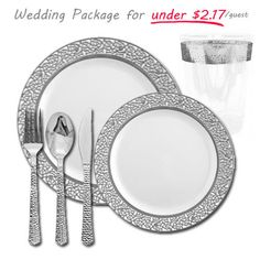 Posh Party Supplies - Inspiration Collection - White with Silver Table Setting Wedding Package for 120, $259.99 (http://www.poshpartysupplies.com/elegant-plastic-dinnerware/party-package/inspiration-collection-white-with-silver-table-setting-wedding-package-for-120/)