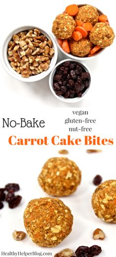 No-Bake Carrot Cake Bites from @Healthy_Helper...vegan, gluten-free, and nut-free bites of carrot cake deliciousness! High carb, low-fat, and great for dessert-like snacking on the go! http://healthyhelperblog.com?utm_source=utm_source%3DPinterest&utm_medium=utm_medium%3Dsocialmedia&utm_campaign=utm_campaign%3Dblogpost
