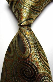 Gold Olive Black Paisley Silk Woven Necktie