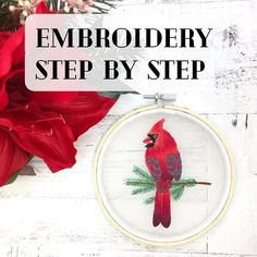 Hand Embroidery Patterns Flowers, Hand Embroidery Projects, Christmas Embroidery Patterns, Basic Embroidery Stitches, Hand Embroidery Videos, Hand Embroidery Art, Embroidery Stitches Tutorial, Simple Embroidery, Embroidery For Beginners