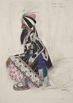 Costume design by Léon Bakst (1866-1924), 1913, Hindu Ballet, No. 3, opaque and transparent watercolor, silver paint, and graphite pencil.