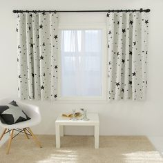 1Pair Stars Print Cream Blackout Curtains Kids Children Drapery Panel For Living Room Bedroom