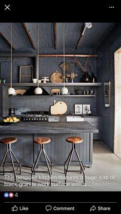 Industrial Kitchen Design, Interior Design Kitchen, Modern Interior Design, Interior Designing, Kitchen Flooring, Kitchen Furniture, Kitchen Decor, Kitchen Ideas, Decorating Kitchen