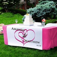 Personalized wedding cake table decorations include all the items that you'll need to perform the cake cutting ceremony and enhance the overall appearance of your cake