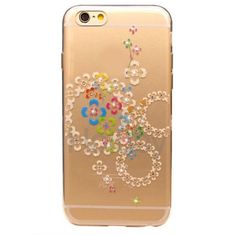 Diamond Studded Soft TPU Back Case for iPhone 6 Plus/ 6S Plus - Colorful Flowers