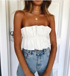 @ashleyanderss |simple white summer strapless top with light washed jeans | #summer #summerfashion #fashion #summeroutfits #fashionoutfits #outfitinspo