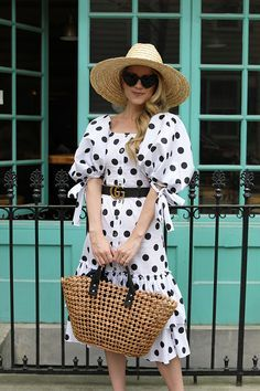 Polka dot dress // How to wear polka dots for spring, Caroline Constas dress, heart shaped sunglsses, and a straw hat Summer Fashion Outfits, Outfits For Teens, Casual Outfits, Fashion Fashion, Womens Fashion, Fashion Tips, Vestido Dot, Dot Dress, Polyvore Outfits