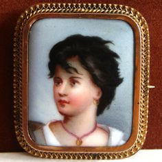 Antique Victorian Hand Painted Porcelain Portrait Brooch/Pin, 1 1/2 x 1 3/4. This portrait pin is in good condition, with some surface scratches on t...  #black #face #gold #white #vintage #jewelry