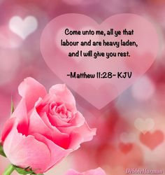 「Matthew King James Version (KJV) Come unto me, all ye that labour and are heavy laden, and I will give you rest. Take my yoke upon you, and learn of me; for I am meek and lowly in heart: and ye shall find rest unto your souls. Biblical Quotes, Bible Quotes, Bible Verses, Healing Scriptures, Healing Words, Come Unto Me, Jesus Pictures, Scripture Pictures, Faith