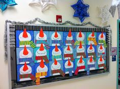 Snowman Art Bulletin Board {love the varied backgrounds and scarves} could be made into a glyph.