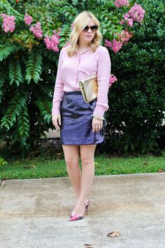 GlamGrace.com Sequns, pink and gold, tory burch reva, navy blue