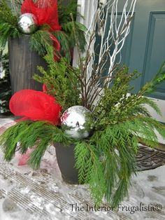 Deck the Halls {How To Make Outdoor Christmas Urns} Porch Christmas Tree, Outdoor Christmas Planters, Outdoor Planters, Outdoor Christmas Decorations, Rustic Christmas, Christmas Ideas, Christmas Crafts, Winter Decorations, Christmas 2017
