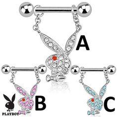 Pair Of Playboy Bunny With Multi Paved Gems Dangle Steel Nipple Bars. #nipplering #nipple #bodyjewelry #piercings #nipplejewelry ♥ $18.99 via OnlinePiercingShop.com