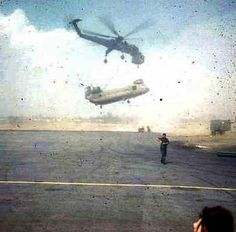 CH54 bringing Back Damaged A/C 117 Big Kahuna back to base 1969  Unit Name: 271st ASHC Delta Innkeepers   Base Name: Can Tho