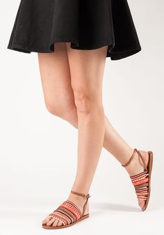 bb9a13ddfe Tory Burch - Mixed Trims Flat Sandal Multi Poppy Red Leather - Jildor Shoes  Red Poppies