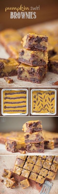 I made these moist and incredibly delicious homemade Pumpkin Swirl Brownies from. I made these moist and incredibly delicious homemade Pumpkin Swirl Brownies from scratch and they were possibly the best fall dessert I& ever had! Fall Desserts, Just Desserts, Delicious Desserts, Mini Desserts, Dessert Recipes, Yummy Food, Pumpkin Recipes, Fall Recipes, Sweet Recipes